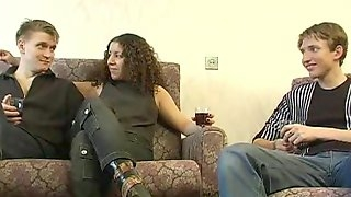 Dirty amateur whore nailed hard doggystyle in a threesome