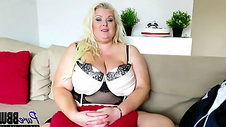 BTS interview with the legendary huge-titted light-haired brit BBW Kirstyn Halborg