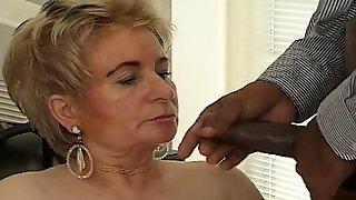 Black boss fucks blonde old secretary on the table