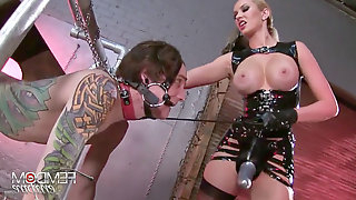 Mistress teaches her victim dog