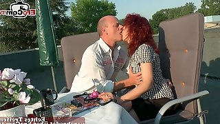 German real couple fuck outdoor in public