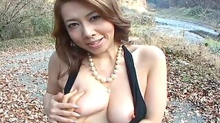 Outdoors video of dirty Yumi Kazama flashing will not hear of trimmed pussy