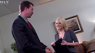 Hardcore fucking in the office with a bosomy blonde secretary
