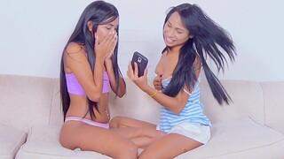 Amazing Ambar Suarez sharing some sex toys with Sofia Suarez