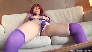 Solo Japanese redhead Yatsuka Mikoto enjoys masturbating with a toy
