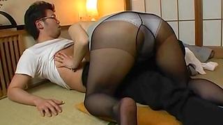 Japan MILF in black pantyhose, exposed fetish XXX home kink
