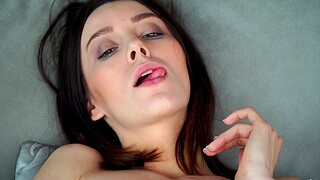 Closeup film over of appealing Adel Morel pleasuring her cravings