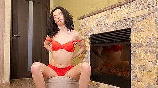 Horny lay Flora Y drops her overheated panties and masturbates