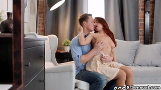 Voluptuous ginger girlfriend Elnara Cat gets a mouthful be expeditious for cum after passionate coition