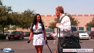 Slutty stewardess Audrey Bitoni hooks up with new manager