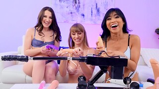Aubree Valentine coupled with two hot lesbians strive sex with machines