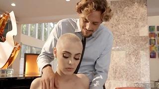 Bald headed pornstar Paris Amour is fucked hard wits horny boy Tyler Nyxon