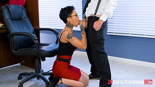 Young curly clerk fucks bossy bitch Honey Gold right greater than the table