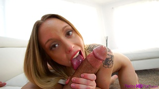 Blonde babe Lucy Tyler moans while bouncing out of reach of a long pecker