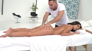 Masseur Raul Costa fucks deep throat with the addition of anal hole of Lana Roy